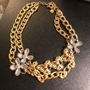 J Crew chain and crystal flower statement necklace